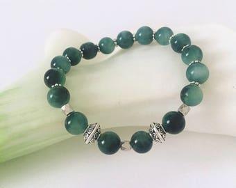 Prosperity Bracelet, 8mm Green Tiger Eye Bracelet, Tiger's Eye & Silver Bracelet, Natural Green Gemstone, Stretch Bracelet, Beaded Bracelet