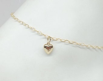 Solid 14kt Gold Chain Ankle Bracelet 14kt Gold Heart Anklet 14kt Heart Gold Anklet  14k Anklet Gold or Bracelet Valentine Gift Buy3+1Free