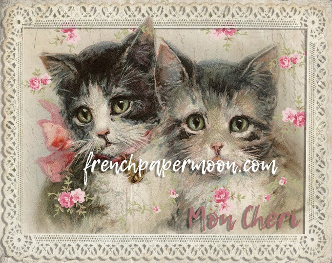 Shabby Victorian Cats, Roses, Kittens, French Graphics, Pillow Image, fabric transfer, Decoupage, Large Size Printable