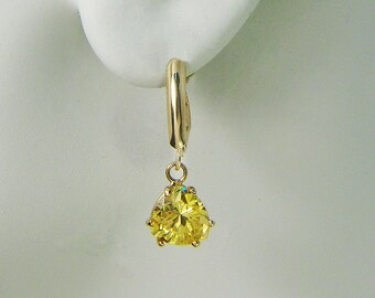14K Gold Dangle Drop Golden Topaz Gemstone Lever Back Earrings 14KGT9TR