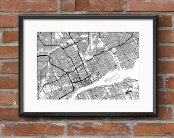 Detroit Map Art Print –Light // Detroit Poster | Detroit Art | Detroit Print // Free Shipping