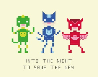 PJ Masks Inspired Pixel Portrait Cross Stitch Pattern (PDF)
