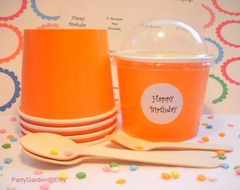 12 Bright Orange Ice Cream Cups - Large 16 oz