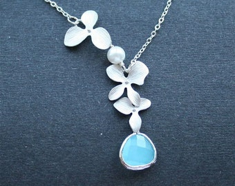 Orchid Necklace, Blue Stone Necklace, Sterling Silver, Orchids, Blue Jewel Necklace, Wedding Jewelr, Bridesmaid Gifts, Birthstone Necklace