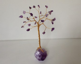 February handmade Gemstone tree. Birthstone wire tree sculpture. Amethyst gift.