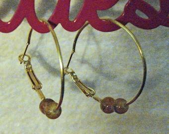 Caramel Colored Beads Earring Hoops. (E 467)