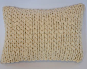 Ivory Wool Cable Knit Lumbar Pillow