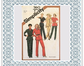 Simplicity 5160 (1981) Misses' straight-leg pants and unlined shirt-jacket - Vintage Uncut Sewing Pattern