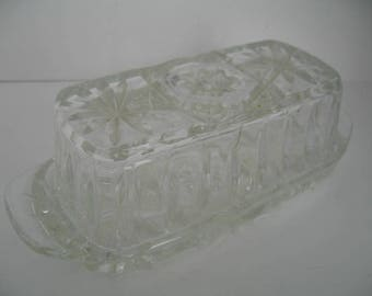Vintage Covered Glass Butter Dish With Star Design