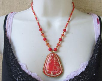 Magnesite Bead Embroidered Necklace