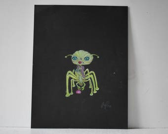Park Ave Alien woman Original colored Pencil print