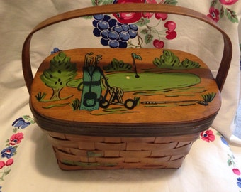 Vintage Wooden Golf Themed Purse