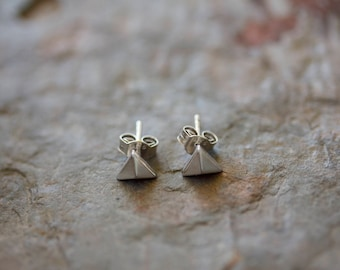 Sterling Silver Pyramid Post Earring