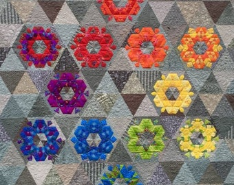 """English Paper Piecing Quilt, Monthly Blocks, Full Year Project - Perpetually Hexie, Katja Marek's  EPP Patterns - Full Kit, 91""""x94"""""""