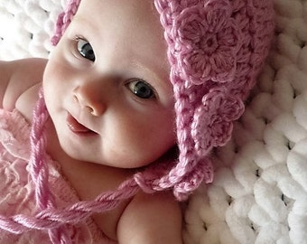 CROCHET PATTERN: 'Wild Rose', Crochet Hat & Legwarmers, Crochet Flower Embellishment, Newborn to Toddler
