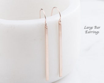 Simple Bar Earrings, Gold Bar Earrings, Dainty Bar Earrings, Minimal Earrings, Bar Earrings in Sterling Silver, Rose Gold Filled,Gold Filled