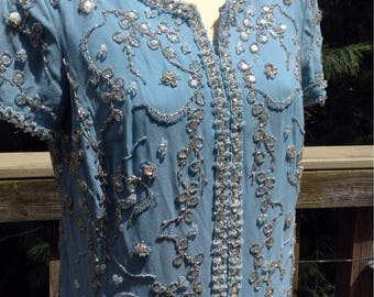 Vintage Light Blue Beaded Gown Maxi Silver Beads