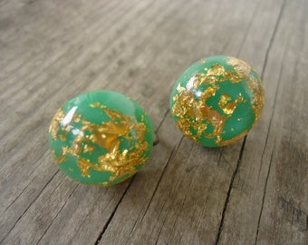 Lucite Confetti Screw Back Earrings