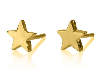 14k Gold Star Earrings , Star Stud Earrings , Cute Earrings , 14k Gold Star , Tiny Star Earrings , Charm Earrings