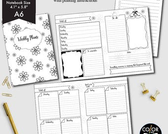 A6 size Weekly Printable, Weekly Plan Printable Planner Insert.  CMP-222.1