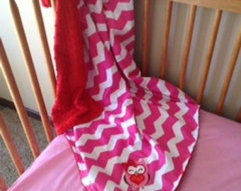 Adorable pink chevron owl blanket with red minky