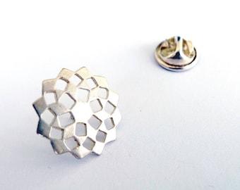 Silver Mashrabiya Lapel Pin. Modern Geometry Sterling Silver Snowflake Pin. Men Tie Tack. Recycled Silver Unisex Pin. Men Wedding Jewelry