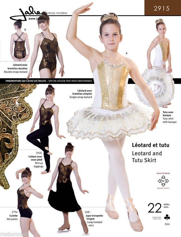 Jalie Ballet or Dance Leotard & Pull-on Tutu Skirt Sewing Pattern ...