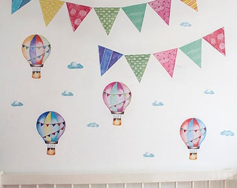 Cute baby room, flags kids decal, pennant flag, nursery birds stickers, colorful kids wall decal, best baby shower gifts, kids room area