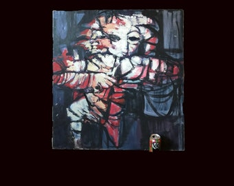"Original Oil Painting Leonard Besser, Modernist, American Artist, Mid-Century Abstract Expressionist. 34 x 32"""