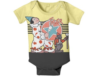 Baby Circus Bodysuit, Personalized Carnival Elephant and Clown Snapsuit