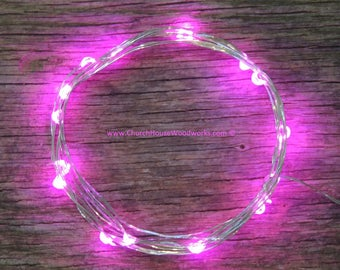 Pink LED Battery Operated Fairy Lights, Rustic Wedding Decor, Room Decor, 6.6 ft Copper Wire Pink