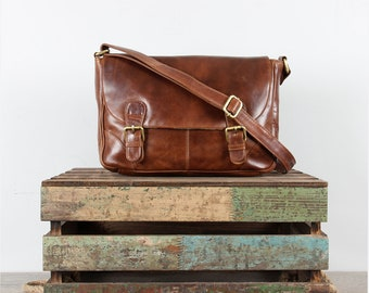 Leather Satchel, Messenger, Cross Body Bag, Tan