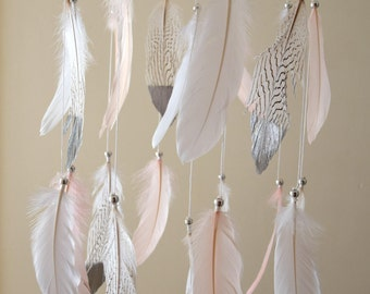 Silver Baby Mobile, Dream Catcher Baby Mobile, Feather Mobile,  Baby Girl Nursery  Hanging Mobile Decor, Blush Pink Boho Nursery Decor