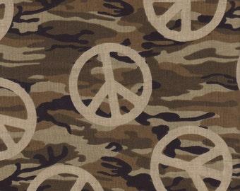 Camo Peace Sign Fabric 100% Cotton, 32X44 Inch Piece  ( Last Chance )