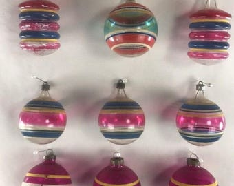 SHINY-BRITE Vintage WWII Era Unsilvered Christmas Tree Ornaments Lot Of 9
