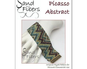 Peyote Pattern - Picasso Abstract Cuff / Bracelet - A Sand Fibers For Personal/Commercial Use PDF Pattern
