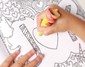 Jumbo Unicorn Horn Crayon - Unicorn Birthday Party Favor Crayons - Kids Birthday Gift Box - Glitter Unicorn Gift for Girls - Crayon Toy Gift