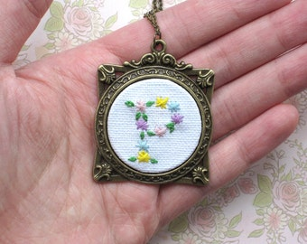 Hand Embroidered Decorative Floral Motif Initial Necklace