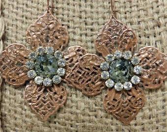 Copper leaf with Black diamond Swarovski crystal.