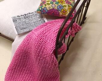 Shabby Chic Handmade Miniature Dollhouse Bed Throw - Medium Pink