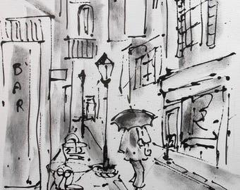 Painting  The Umbrella under the rain Acrylic painting