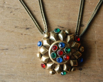 Vintage Art Moderne gilt medallion necklace with double chain