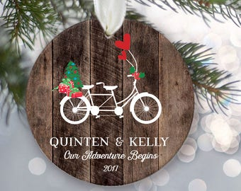 """Tandem bicycle Personalized Christmas Ornament Couple's a Gift for Engaged couple or newly Married couple Rustic """"wood"""" tandem bike OR842"""