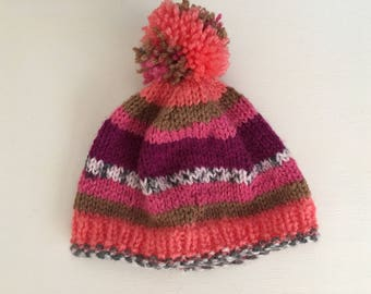 baby hat, knitted baby hat, girls baby hat, handmade baby hat