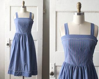 Vintage 1970s Lanz Calico Dress / 50s Style Floral Print Sun Dress / Salzburg Dress