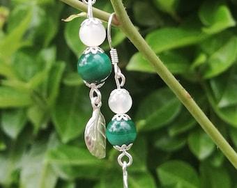 Silver earrings / Malachite / Moonstone / sheet