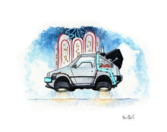 DeLorean Time Machine - Inspired by Back to the Future II Watercolor Print