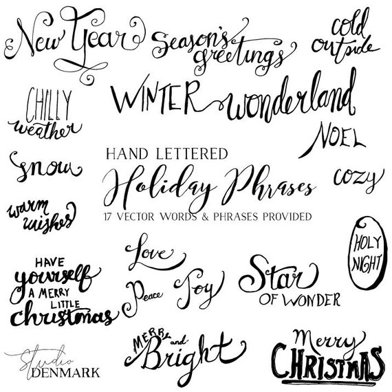 Vector holiday words phrases christmas card greetings m4hsunfo