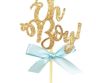 12 CT Glitter Oh Boy! WITH Baby Blue Ribbon Cupcake Topper Calligraphy Cursive Script Baby Shower Glitter Baby Shower Decoration