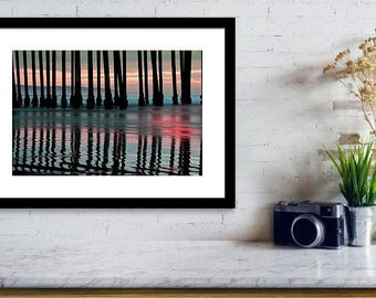 California Pier Sunset - Pismo Beach - Ocean Art - Wall Art - Home Decor